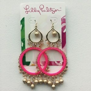 Lilly Pulitzer Gold and Pink Chandelier Earrings.